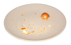 Brown plate and crumbs Royalty Free Stock Photo