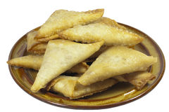 Brown Plate of Folded and Freshly Fried Samoosa Sn Stock Photos