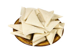 Brown Plate of Freshly Folded Uncooked Samoosas Royalty Free Stock Photos