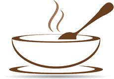 Plate with hot soup in vector. Brown plate with hot soup in vector Stock Photos