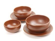 Brown plates stock photos