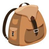 Brown plecaka kreskówki projekt odizolowywał ikona wektoru ilustrację Zdjęcie Royalty Free