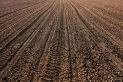 Brown ploughed field Stock Photo