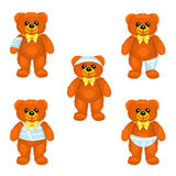 Brown plush bear with bandages around the different parts of its body. There are five same plush bears with bandages on the hand, head, leg, thorax and perineum Royalty Free Stock Photography