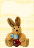 Brown plush bunny with a heart  Stock Images