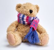 Brown plz bevy bear in a knitted multi-colored scarf. Sits on a white background royalty free stock photos