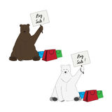 Brown and polar bear invite to big sale. Unusual polar and brown bear with tables stock illustration