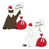 Brown and polar bears congratulate with Christmas. Unusual polar and brown bear with tables Stock Image