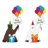 Brown and polar bears congratulate with happy birt. Unusual polar and brown bear with tables Royalty Free Stock Photo