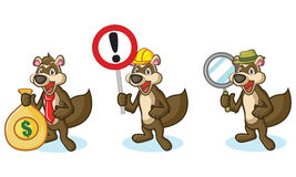 Brown Polecat Mascot with sign Stock Images
