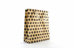 Brown polka dots paper bag. Stock Photos