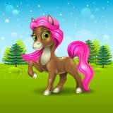 Brown pony icon Stock Photos