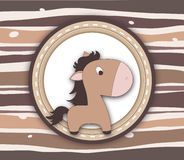 Brown pony label card on stripey background Royalty Free Stock Image