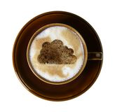 Brown porcelain cup with marbled milk froth Stock Image