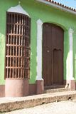 Brown porch. A green, brown doorway in trinidad cuba stock photography