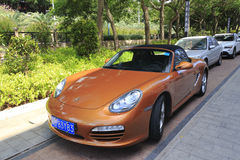 Brown porsche by the road, amoy city, china Royalty Free Stock Photography