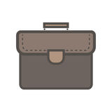 Brown-Portfolio mit Griff Flache Ikone Lizenzfreie Stockbilder