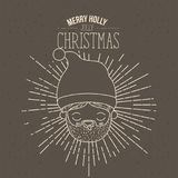 Brown poster with sparks and silhouette cute closeup face santa claus with tongue out and text merry holly jolly. Christmas vector illustration Stock Photography