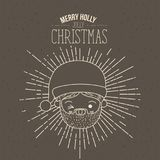 Brown poster with sparks and silhouette cute closeup face santa claus with wink eye and tongue out and text merry holly. Jolly christmas vector illustration Royalty Free Stock Photo