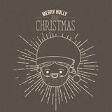 Brown poster with sparks and silhouette cute face santa claus with smile expression and text merry holly jolly christmas. Vector illustration Stock Photography