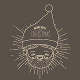Brown poster with sparks and silhouette cute face santa claus with tongue out and text merry holly jolly christmas. Vector illustration Royalty Free Stock Image