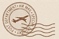 Brown postmark on beige background. Vector illustration Stock Photos