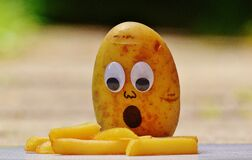 Brown Potato in Front of French Fries Stock Images