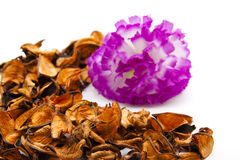 Brown potpourri with flower. On white background Royalty Free Stock Images
