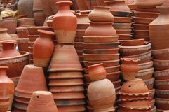 Brown Pottery in Kathmandu, Nepal. Stacks of brown pottery for sale in Kathmandu, Nepal stock photography