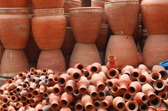 Brown Pottery in Kathmandu, Nepal. Stacks of brown pottery for sale in Kathmandu, Nepal royalty free stock image