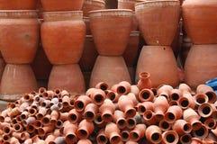 Brown Pottery in Kathmandu, Nepal. Stacks of brown pottery for sale in Kathmandu, Nepal Royalty Free Stock Image