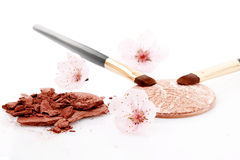 Brown powder for makeup and two brush royalty free stock images