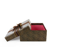Brown present box with flower roses wrap by ribbon. Include clip Royalty Free Stock Images