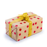 Brown present box with red dot Stock Photography