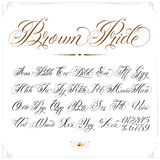 Brown Pride Tattoo Font. Handmade vector calligraphy tattoo alphabet with numbers Stock Image