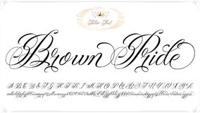 Brown Pride tattoo lettering. Handmade vector calligraphy tattoo alphabet with numbers Royalty Free Stock Photo