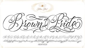 Brown Pride Tattoo Lettering. Brown Pride - updated handwritten chicano Script font. Hand drawn popular tattoo style calligraphy cursive typeface. Vector Brush royalty free illustration