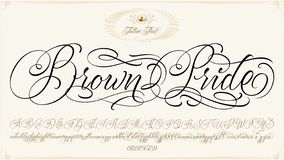 Brown Pride Tattoo Script. Brown Pride - updated handwritten chicano Script font. Hand drawn popular tattoo style calligraphy cursive typeface. Vector Brush type stock illustration
