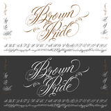 Brown Pride tattoo typescript big set. Handmade vector calligraphy tattoo alphabet with numbers Stock Photos