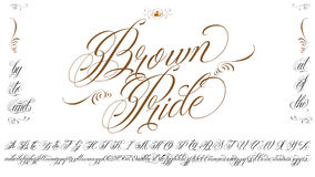 Brown Pride tattoo typescript. Handmade vector calligraphy tattoo alphabet with numbers Stock Photo