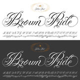 Brown Pride tattoo typescript set. Handmade vector calligraphy tattoo alphabet with numbers Royalty Free Stock Photo