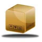 Brown Pudełkowata online sklepowa ikona Zdjęcia Stock