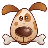 Brown Puppy with Bone. Vector cartoon illustration of a cute puppy dog with a bone in his mouth vector illustration