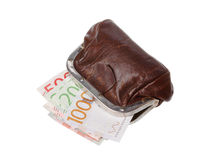 Brown purse with banknotes Royalty Free Stock Photo