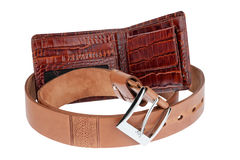 Brown purse with belt Royalty Free Stock Photos