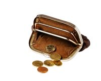 Brown purse with coins Royalty Free Stock Images