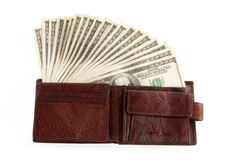 Brown purse with dollars Royalty Free Stock Photos
