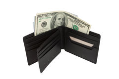 Brown purse with money Royalty Free Stock Photography