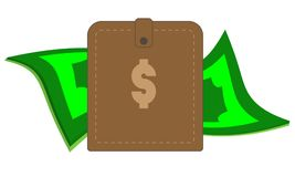Brown purse with paper cash and coins royalty free stock photos