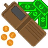 Brown purse with paper cash and coins Royalty Free Stock Photography